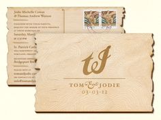 Tom & Jodie | The Design Portfolio of Ben Barry {beautiful laser cut wood postcard #invitation}