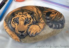 The Emerging Tiger - step by step painting a tiger rock - ZephyrCat's Art Journal
