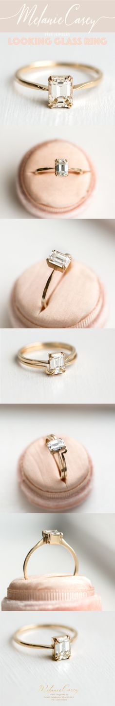 minimalist ring, timeless ring, emerald cut engagement ring, antique ring, vintage ring, dainty ring, feminine ring, elegant ring, gold ring, white diamond ring, delicate ring, handmade ring, stunning ring, wedding ring, Melanie Casey ring, perfect ring, vs1 ring, halo ring, vintage jewelry, antique ring, vintage inspired ring, antique inspired ring, fairytale ring, magical ring, handmade jewelry, jewelry made in the USA, made with love, created for quality, diamond looking glass ring