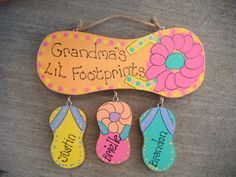 Handpainted Personalized Wood Flip Flop Sign by LazyHoundWorkshop, $20.00