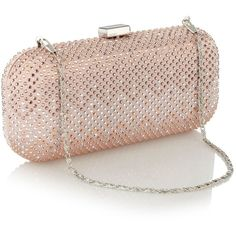 Pale pink rhinestone embellished clutch bag ❤ liked on Polyvore