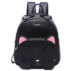Modelo del gato lindo y Negro Diseño Mochila para las mujeres