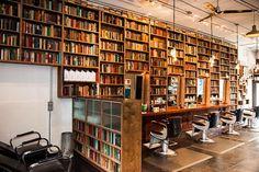 Public Barber Salon, North Beach, via Urbandaddy. Libraries are everywhere.