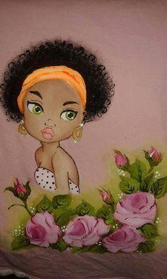 . O cabelo é foi feito com pincel de certas duras. Vc da batidinhas em vez de pinceladas e por último faz os anéis nas pontas pra parecer os cachos. MS no YouTube tem vídeos maravilhosos ensinando a pintar cabelo afro.