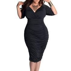 New Sexy Black Cross Deep V Women Summer Dress Stretchy Bodycon Bandage Party  Dresses Ladies Vestidos Pleated Club Wear Outfits XXXL bda552d9d619