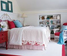 blue and white country rooms | Traditional Country Bedroom in Red, White, and Beach Blue