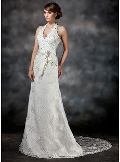 A-Line/Princess Halter Court Train Satin Lace Wedding Dress With Sash Beading Sequins