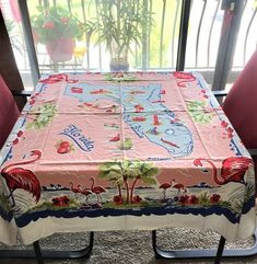 ~ VINTAGE 50's PINK TURQ COTTON TABLECLOTH FLORIDA STATE MAP SOUVENIR FLAMINGOS | eBay Floral Tablecloth, Vintage Tablecloths, Floral Fabric, Cattleya Orchid, Lace Table, Paper Tags, State Map, Pink Stripes, Pink Purple