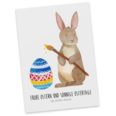 Postkarte Hase Eiermalen aus Karton 300 Gramm  weiß - Das Original von Mr. & Mrs. Panda.  Jedes wunderschöne Motiv auf unseren Postkarten aus dem Hause Mr. & Mrs. Panda wird mit viel Liebe von Mrs. Panda handgezeichnet und entworfen.  Unsere Postkarten werden mit sehr hochwertigen Tinten gedruckt und sind 40 Jahre UV-Lichtbeständig. Deine Postkarte wird sicher verpackt per Post geliefert.    Über unser Motiv Hase Eiermalen  Hurra, die Ostertage sind da!  Unser Osterhase bringt schonmal die…