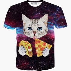 Galaxy Cat Eating Taco and Pizza