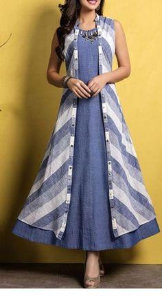 Kurti with jacket Simple Kurti Designs, Salwar Designs, Kurti Neck Designs, Dress Neck Designs, Kurta Designs Women, Kurti Designs Party Wear, Designs For Dresses, Cotton Kurtis Designs, Mode Outfits