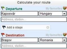útvonaltervezési adatok megadása