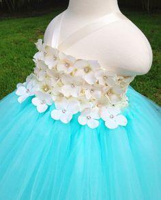 Ivory hydrangea & tiffany blue tutu dress, flower girl tutu dress, custom tutu dress, birthday dress, photo prop dress on Etsy, $75.00