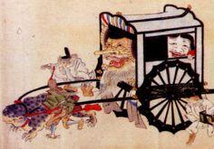 「百鬼夜行絵巻(京都市立芸術大学芸術資料館蔵)」から天狗の牛車