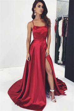 Simple Evening Dress Long Red Evening Dresses Günstig_Brautkleider,Prom Dresses,Evening Dresses Source by de soirée Straps Prom Dresses, A Line Prom Dresses, Prom Dresses Online, Ball Dresses, Homecoming Dresses, Party Dresses, Long Dresses, A Line Dress Formal, Formal Prom