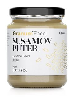 Granum Food's Sesame Seed Butter packaging designed by Peter Gregson.