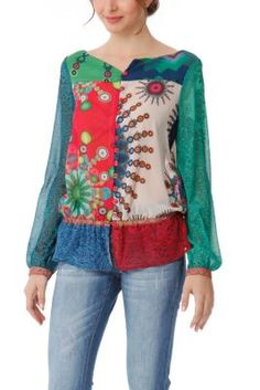 Desigual women's Stark gauze blouse. This is a lively and colourful item that is perfect for the spring/summer season.