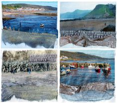 These were some little stitch collages done for the Open Studio week last October. All are local landscapes from Lyme Regis and the top right image from West Bay (of BBC Broadchurch fame) Fine Art Textiles, Textile Fiber Art, Textile Artists, Textiles Sketchbook, Artist Sketchbook, Fabric Artwork, Collage Art, Art Collages, A Level Art