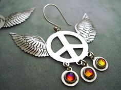 Mexican Silver Winged Peace Sign Earrings with Multicolored Volcano Swarovski Crystals $31.95 available on etsy.com