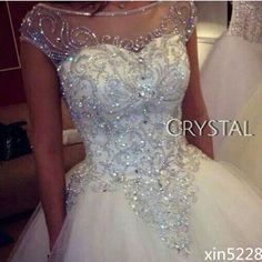 Bridal Ball Gown Wedding Dresses Dazzling Princess Luxury Bling Crystal Handmade