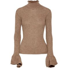 Acne Studios Raine cutout ribbed alpaca and wool-blend turtleneck... ($545) ❤ liked on Polyvore featuring tops, sweaters, light brown, ruffled sweaters, alpaca sweaters, cut out sweater, cut out back sweater and ribbed sweater