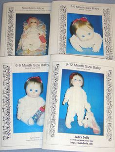"4 Stages of Infancy Cloth Doll Patterns & Instructions (Set of 4) by Judi Ward - 0 - 3 Month Newborn Alice is 20"" long; 3 - 6 Month Size Baby is 24"" long; 6 - 9 Month Size Baby is 26"" long; and 9 - 12 Month Size Baby is 28"" tall - Each baby is jointed - Each pattern is also sold separately (37352 - 37355)"