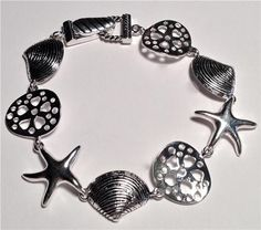 Silver Sea Life Charm Bracelet Starfish Sand Dollar Shells Beach Island USSeller #HopeCollection #Traditional