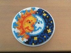 Hama bead the sun and the moon by Randi Frederiksen Perler Bead Designs, Hama Beads Design, Diy Perler Beads, Pearler Bead Patterns, Perler Bead Art, Perler Patterns, Loom Patterns, Quilt Patterns, Knitting Patterns