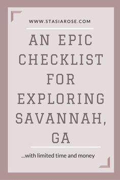 Explore Savannah, GA with limited time and money! #savannah #budget #vacation…