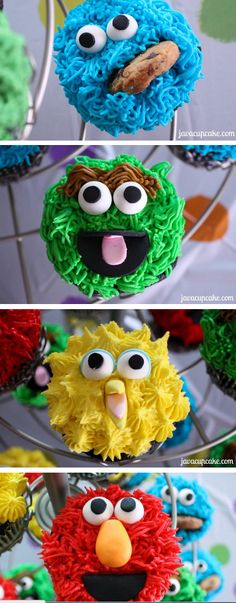 Sesame Street Cupcakes Tutorials  http://thecakebar.tumblr.com/post/49039426649/sesame-street-cupcakes-tutorials