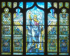 """Angel of the Resurrection"" (1903-1904), By Tiffany Studios, Designer Frederick Wilson (1858-1932), Stained Glass, Gift of the First Meridian Heights Presbyterian Church, Indianapolis,  Dr. Ann H. Hunt Gallery, Indianapolis, Indiana, United States.  #angels"
