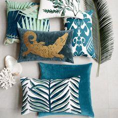 Rousseau Velvet Applique Pillow Cover, Blue #williamssonoma