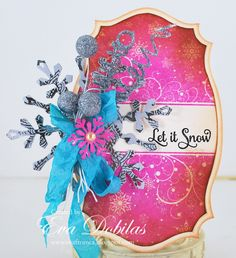 For the love of life: JustRite Papercrafts Snowfall Background stamp and Large Fancy Holiday Sentiments.