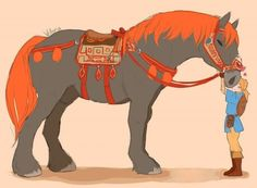 I love the giant horse in BoW His name is now Maximus<< I'm going to tame this horse. And I'm going to name him Angus.