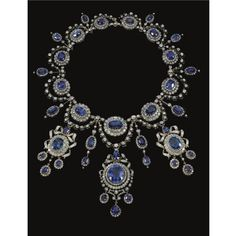 Necklace of the sapphire and diamond parure once owned by Princess Marie Bonaparte and Princess Eugenie of Greece and Denmark.