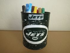 NEW YORK JETS Recycled Can Holder by KreationsGalore on Etsy