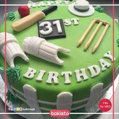 HBL PSL Cricket Cake in Lahore - Excited for cricket? Check out this cricket cake exclusively by bakisto! Cricket Birthday Cake, Cricket Theme Cake, 80 Birthday Cake, Skittles Cake, Bbq Cake, 18th Cake, Cricket Crafts, Online Cake Delivery, Specialty Cakes