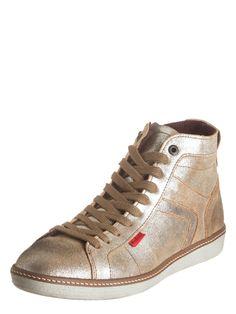 Leder-Sneakers in Gold/ Hellbraun. Damen Sneakers High von Kickers - aus hochwertigem Leder - Leder-Decksohle für hohen Tragekomfort - mit Schnürung und seitlichem Reißverschluss - verstärkte Hinterkappe - rutschhemmende Laufsohle Hinweis: Die Schuhe fallen ca. eine Nummer kleiner aus! Farbe: braun/gold Material: Obermaterial: - Leder Futter und Decksohle: - Textil - Leder Laufsohle: - sonstiges Material