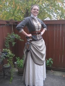 """""""When it was all said and done I made a fully lined jacket, an over skirt, an under skirt, a bustle, a set of pockets, a holster, a belt for the holster, a headband, and a scarab pin. I also modified a blouse and dyed some things brown along the way. Phew!"""" More pics at the website."""