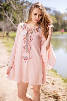 Feeling Perfect In This Embroidered Dress100% RayonHand Wash ColdNo BleachHang To Dry83455