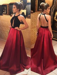 satin prom dress,long evening gowns,backless prom dress,open back