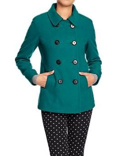 Old Navy - Womens Wool-Blend Pea Coats in Teal Next Time, Winter Wine, Apple of My Eye, Llama and In the Navy, $59.94