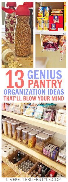 Check out these amazing pantry organization hacks that can get your pantry organized so you stop having to look at pictures and instead can just take a peek at your own. Definitely pinning for later! #home #kitchen #organization #organized #organising