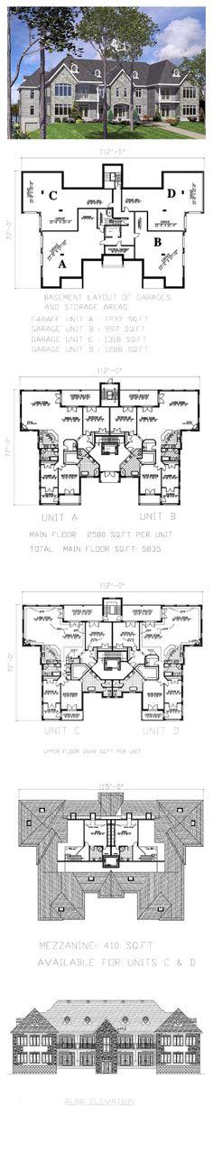 1000 images about duplex multiplex plans on pinterest for Multi family condo plans