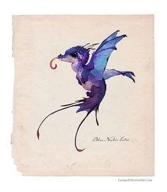 ArtStation - The Blue Nectar-Eater, Laurel D Austin Cute Creatures, Magical Creatures, Fantasy Creatures, Dnd Characters, Fantasy Characters, Mythological Monsters, John James Audubon, Alien Art, Creature Concept