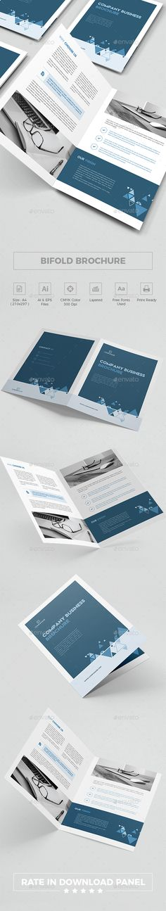Bifold Brochure Features      Size A4 : 210×297 mm     CMYK colors     Layers     Fully editable     300 DPI     3 mm BLEEDS