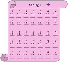 Worksheet on adding 6 will help the skill builders to practice numerous questions on To get the clear concept of how to add six to a number 0 to children can practice this sheet. 8th Grade Math Worksheets, Measurement Worksheets, Addition Worksheets, Math Expressions, Summer Courses, Book Study, Tool Organization, How To Get, Ads