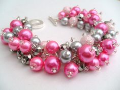 CandyPink and Silver Bracelet Pearl Bracelet by KIMMSMITH on Etsy