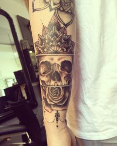 #mandala #skull #rose beginning of a sleeve #tattoo #tattoos #ink #inked…