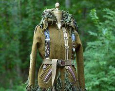 Steampunk boho military style SWEATER JACKET with suspenders, zippers. Unisex grunge mantel in size Medium Large. Ready to ship
